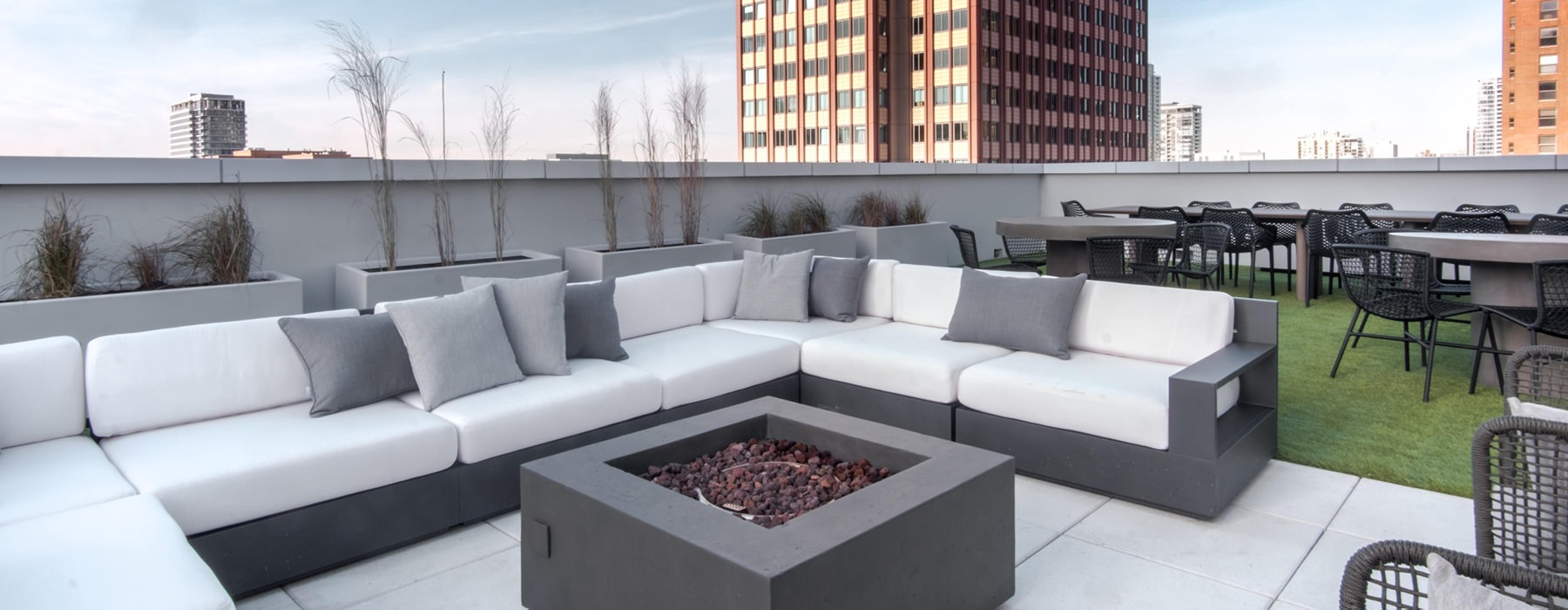 Rooftop Deck Fireplace and table seating area